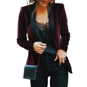 Jackets & Blazers - Women's Velvet Casual Blazer Jacket Top Outwear